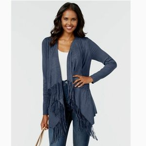 INC International Concepts sueded fringe cardigan